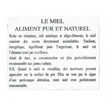 ETIQUETTE INFORMATIVE MIEL (LE 100)