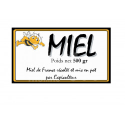 """ÉTIQUETTES MIEL MODÈLE """"MIEL ABEILLE"""" - AUTOCOLLANTES AU ROULEAU"""